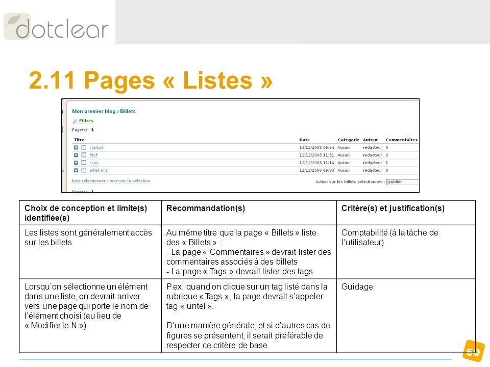 2.11 Pages « Listes » Choix de conception et limite(s) identifiée(s)