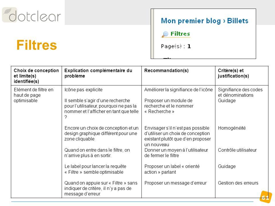 Filtres Choix de conception et limite(s) identifiée(s)