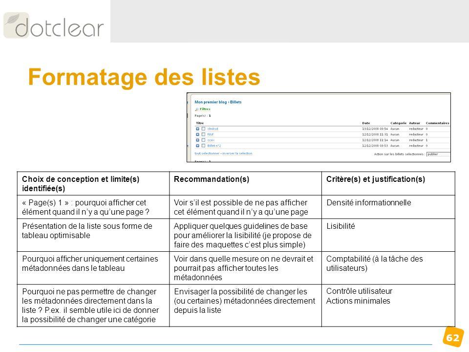 Formatage des listes Choix de conception et limite(s) identifiée(s)