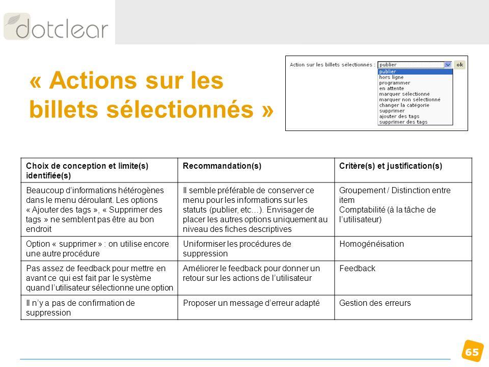 « Actions sur les billets sélectionnés »