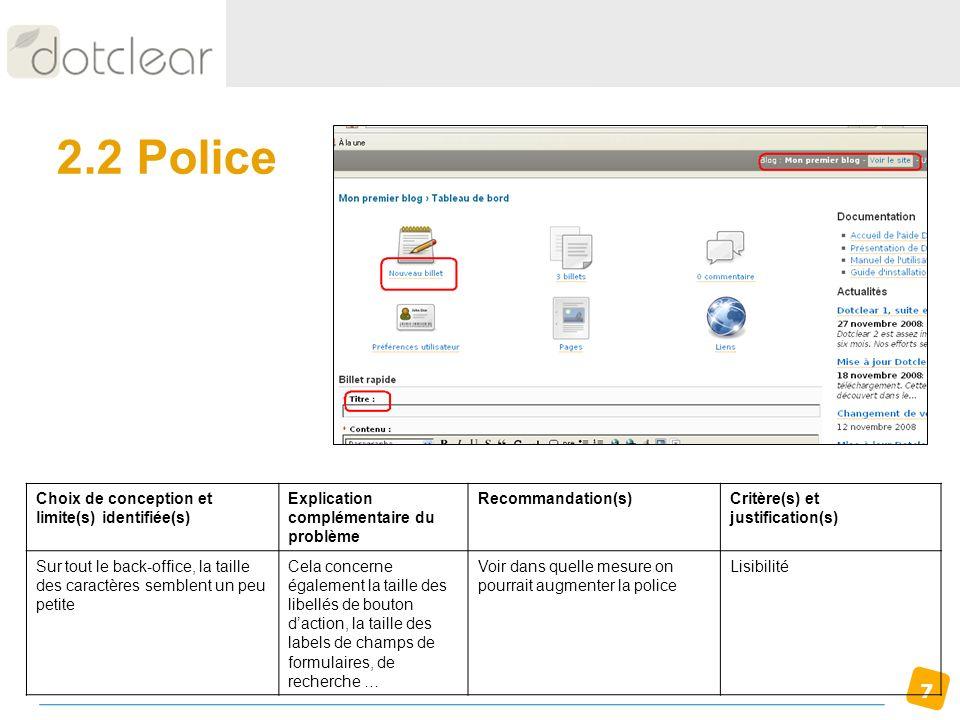 2.2 Police Choix de conception et limite(s) identifiée(s)