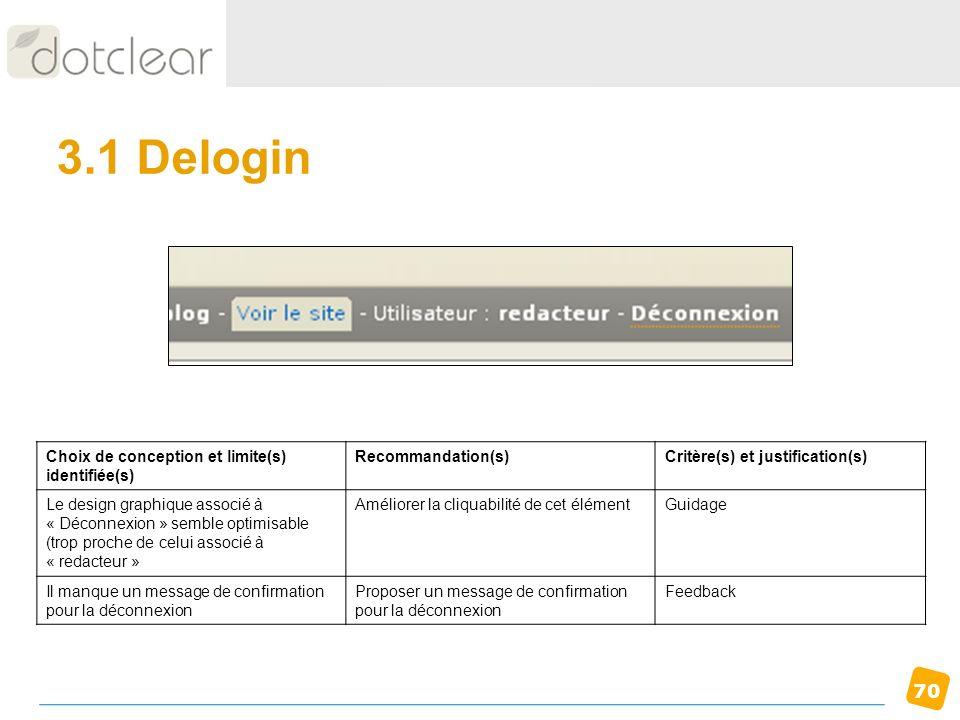 3.1 Delogin Choix de conception et limite(s) identifiée(s)