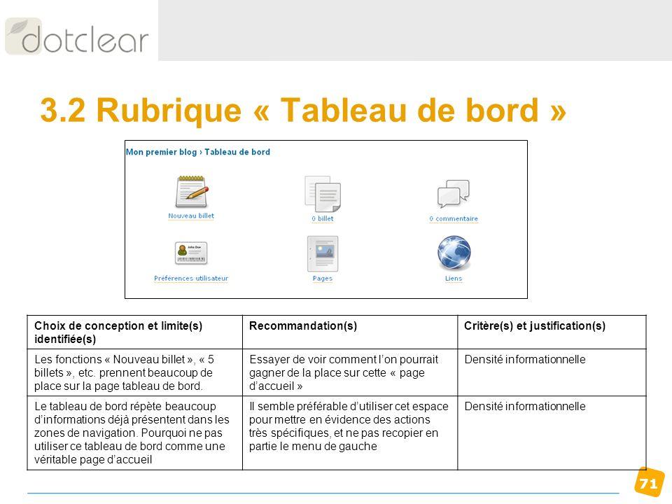 3.2 Rubrique « Tableau de bord »