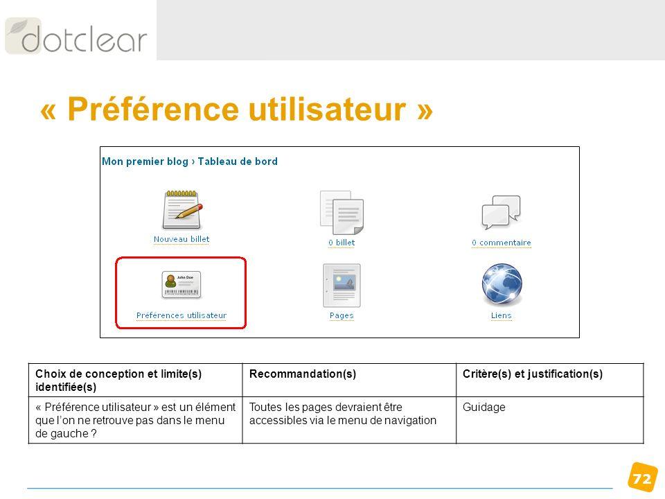 « Préférence utilisateur »