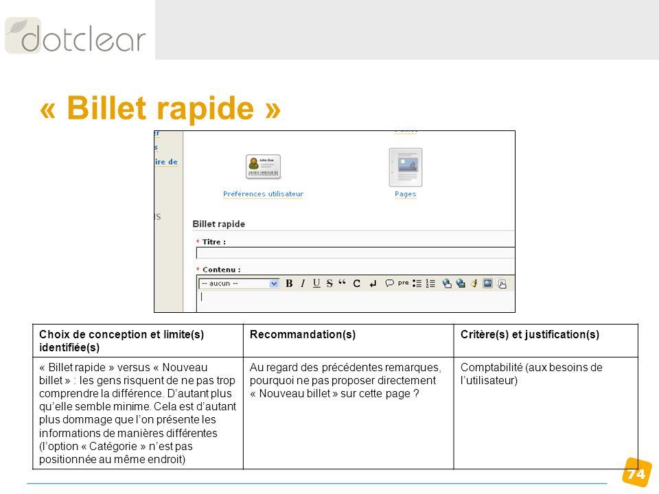« Billet rapide » Choix de conception et limite(s) identifiée(s)
