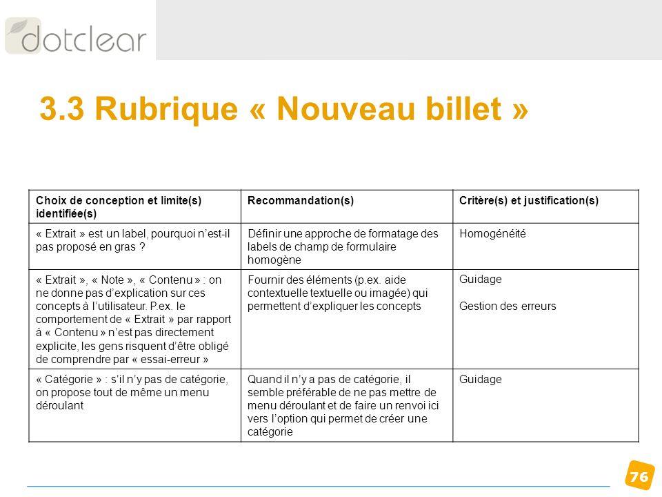 3.3 Rubrique « Nouveau billet »