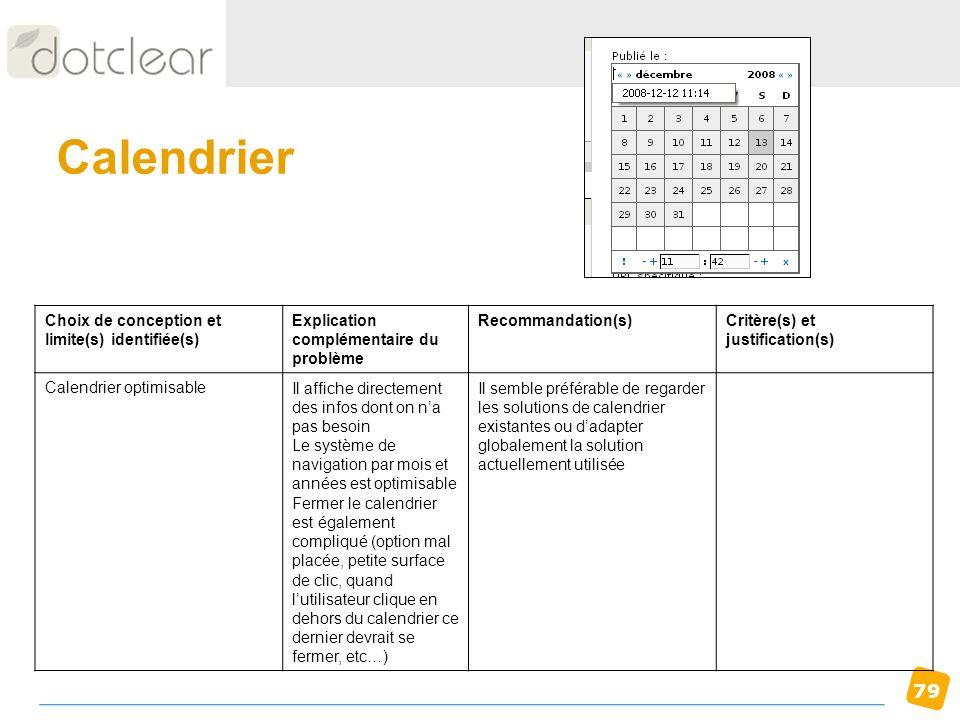 Calendrier Choix de conception et limite(s) identifiée(s)