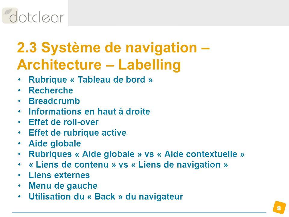 2.3 Système de navigation – Architecture – Labelling