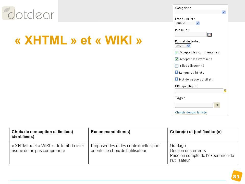 « XHTML » et « WIKI » Choix de conception et limite(s) identifiée(s)