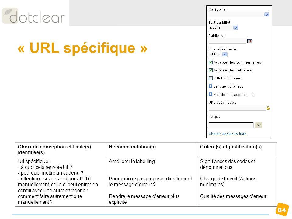 « URL spécifique » Choix de conception et limite(s) identifiée(s)