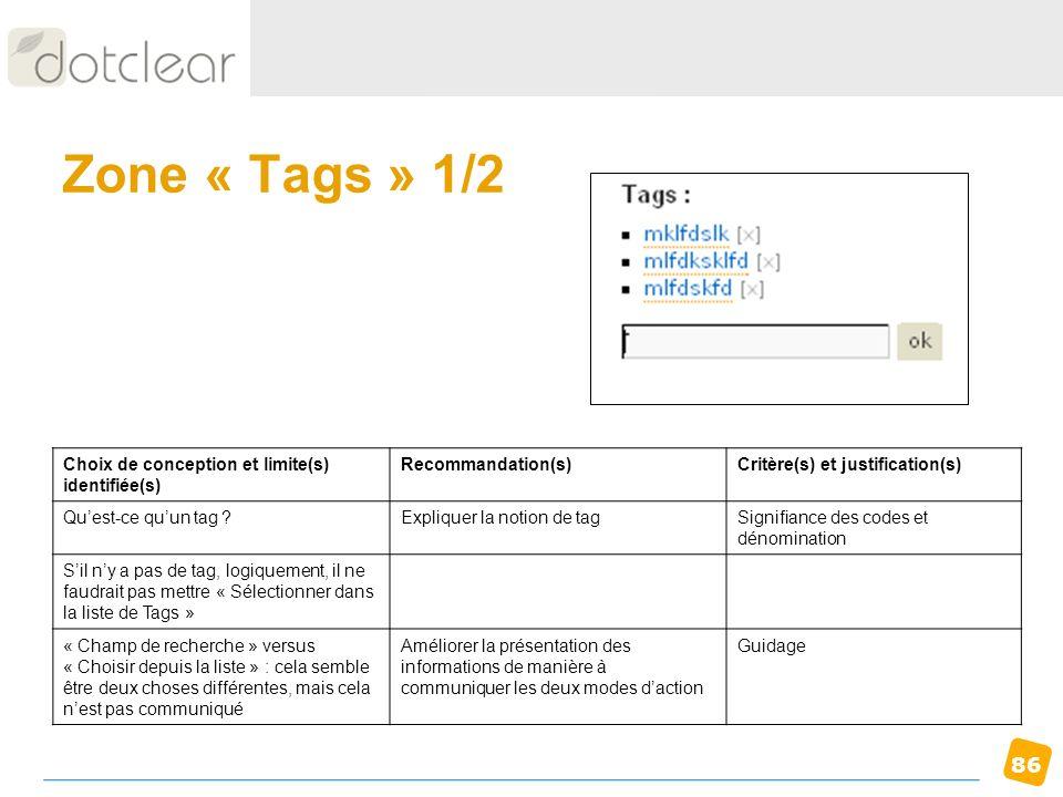 Zone « Tags » 1/2 Choix de conception et limite(s) identifiée(s)