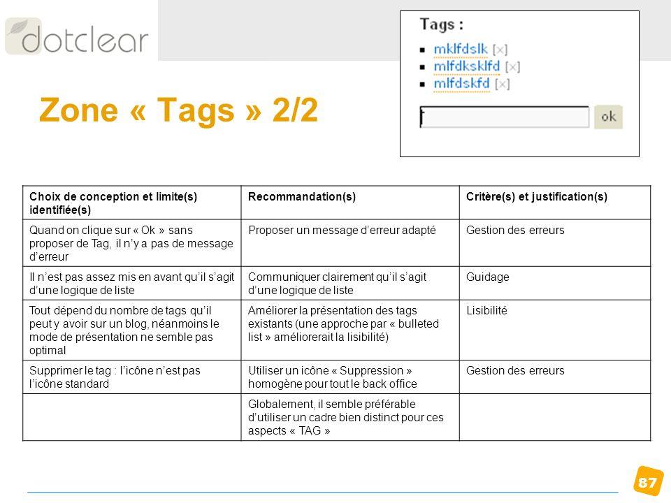Zone « Tags » 2/2 Choix de conception et limite(s) identifiée(s)