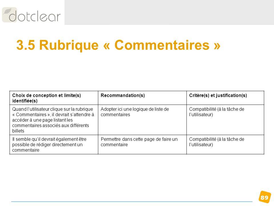 3.5 Rubrique « Commentaires »