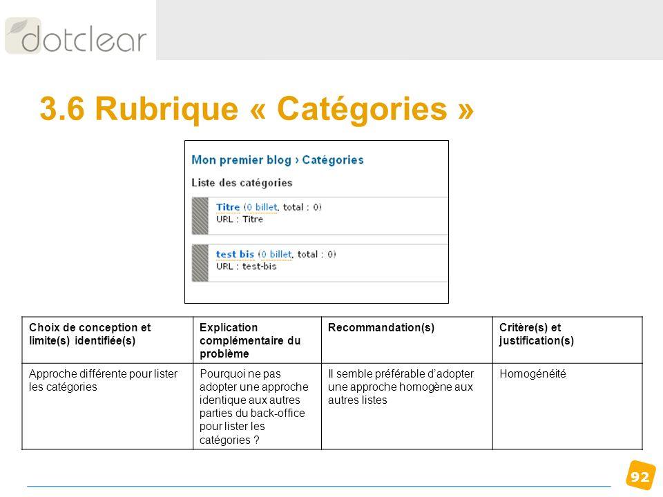 3.6 Rubrique « Catégories »