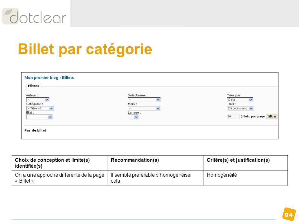Billet par catégorie Choix de conception et limite(s) identifiée(s)
