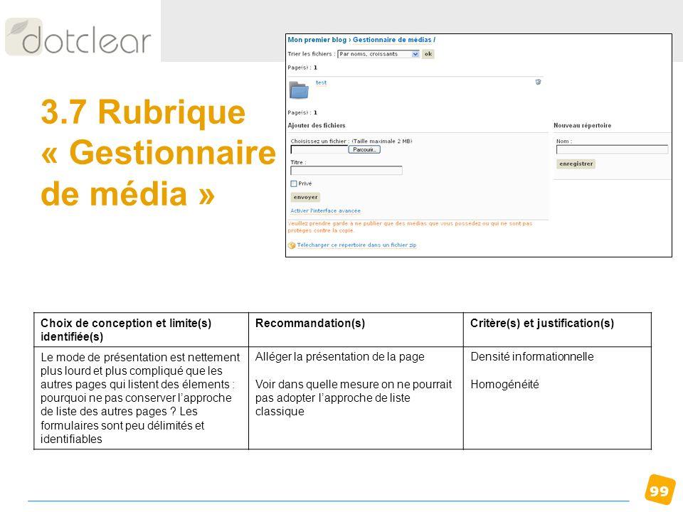3.7 Rubrique « Gestionnaire de média »