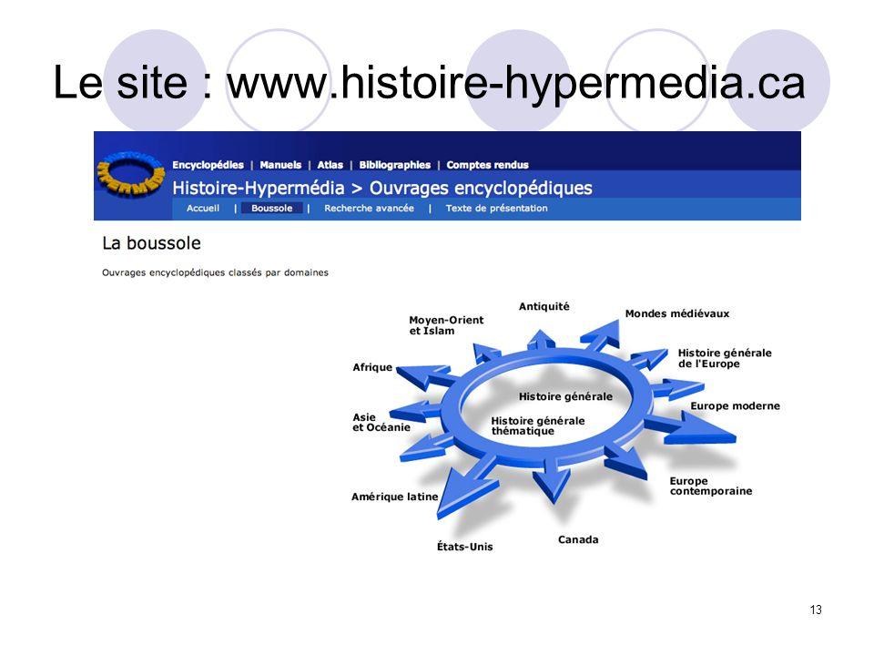 Le site : www.histoire-hypermedia.ca