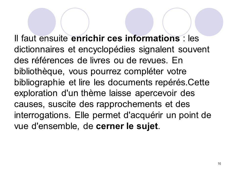 Il faut ensuite enrichir ces informations : les dictionnaires et encyclopédies signalent souvent des références de livres ou de revues.