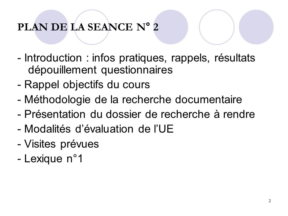 PLAN DE LA SEANCE N° 2 - Introduction : infos pratiques, rappels, résultats dépouillement questionnaires.