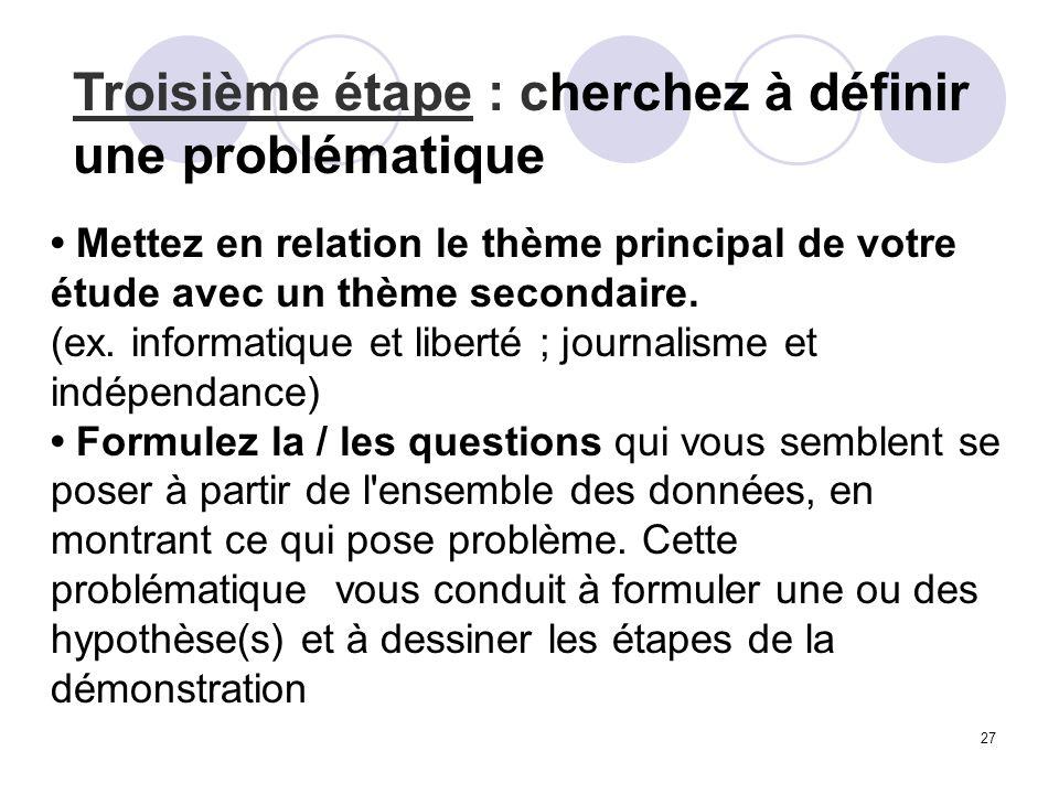 Troisième étape : cherchez à définir une problématique