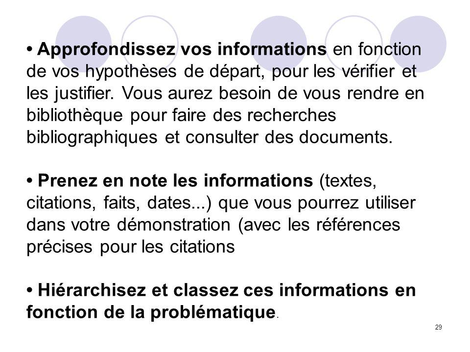 • Approfondissez vos informations en fonction de vos hypothèses de départ, pour les vérifier et les justifier. Vous aurez besoin de vous rendre en bibliothèque pour faire des recherches bibliographiques et consulter des documents.