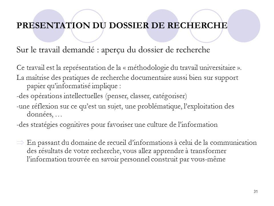 PRESENTATION DU DOSSIER DE RECHERCHE