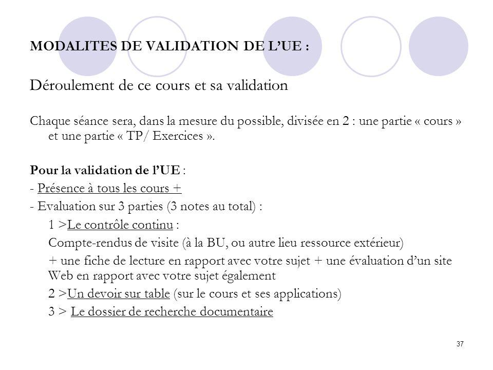 MODALITES DE VALIDATION DE L'UE :