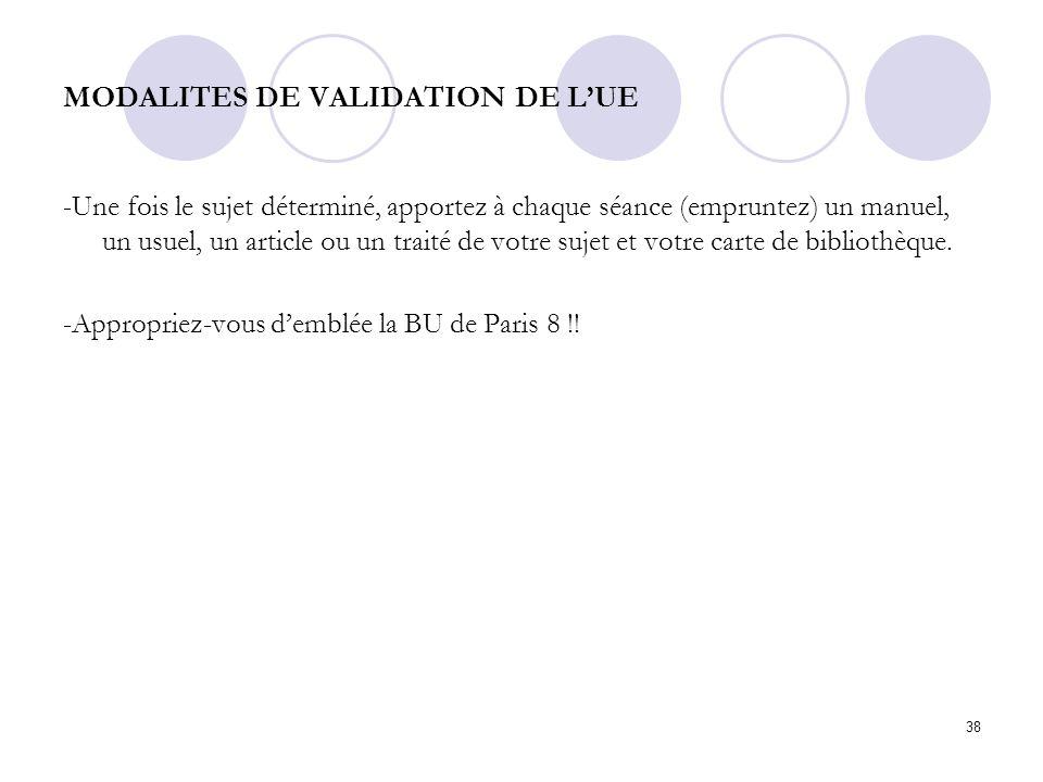 MODALITES DE VALIDATION DE L'UE