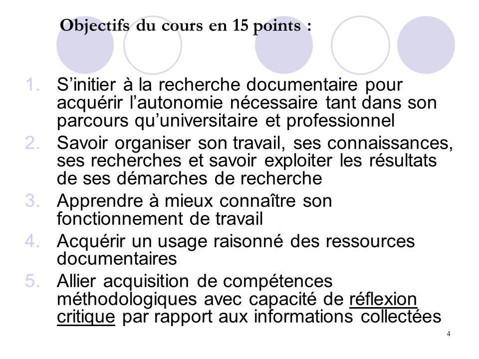 Objectifs du cours en 15 points :