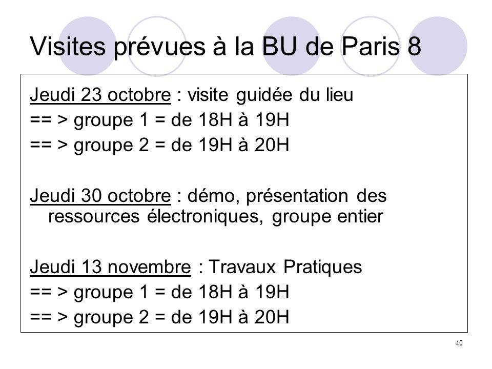 Visites prévues à la BU de Paris 8