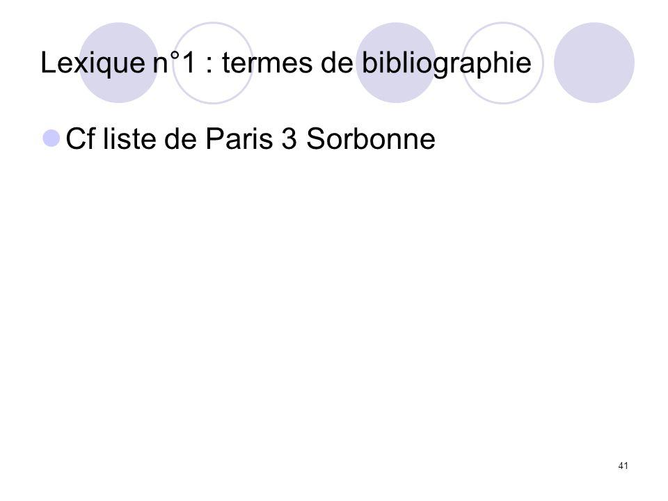 Lexique n°1 : termes de bibliographie