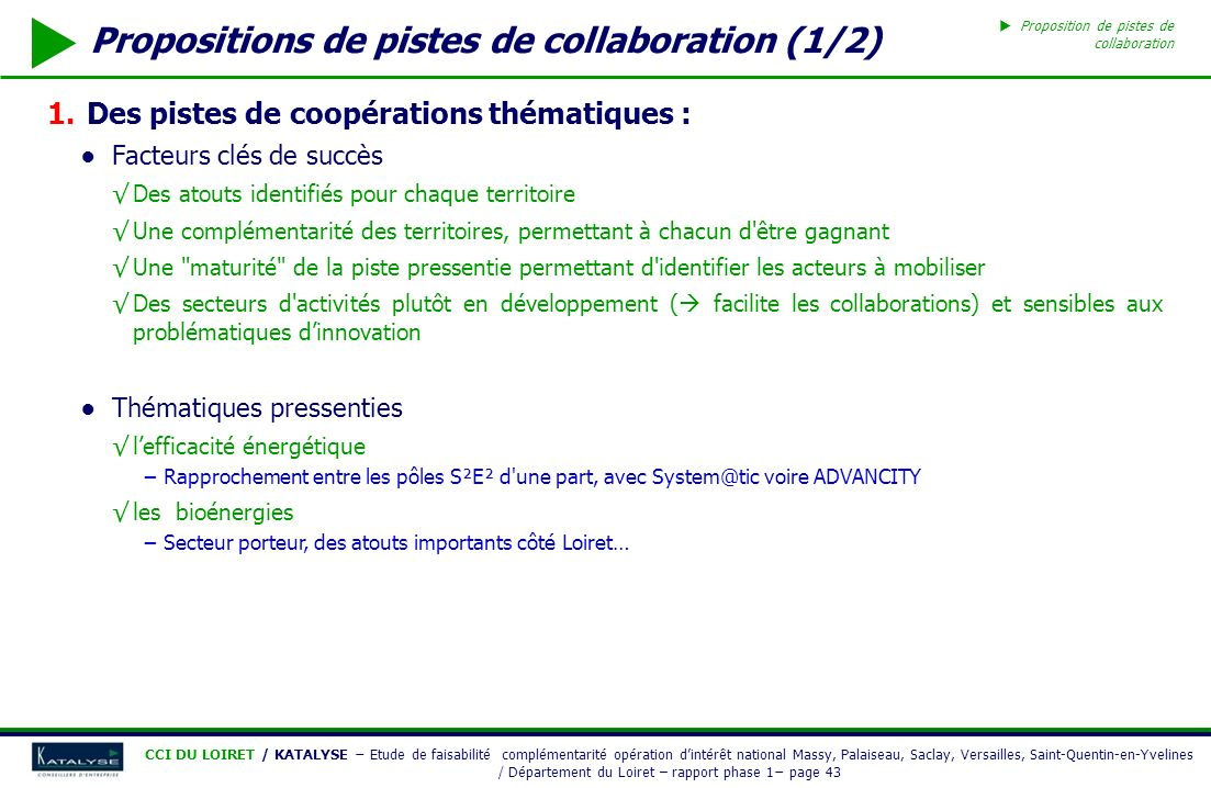 Propositions de pistes de collaboration (1/2)