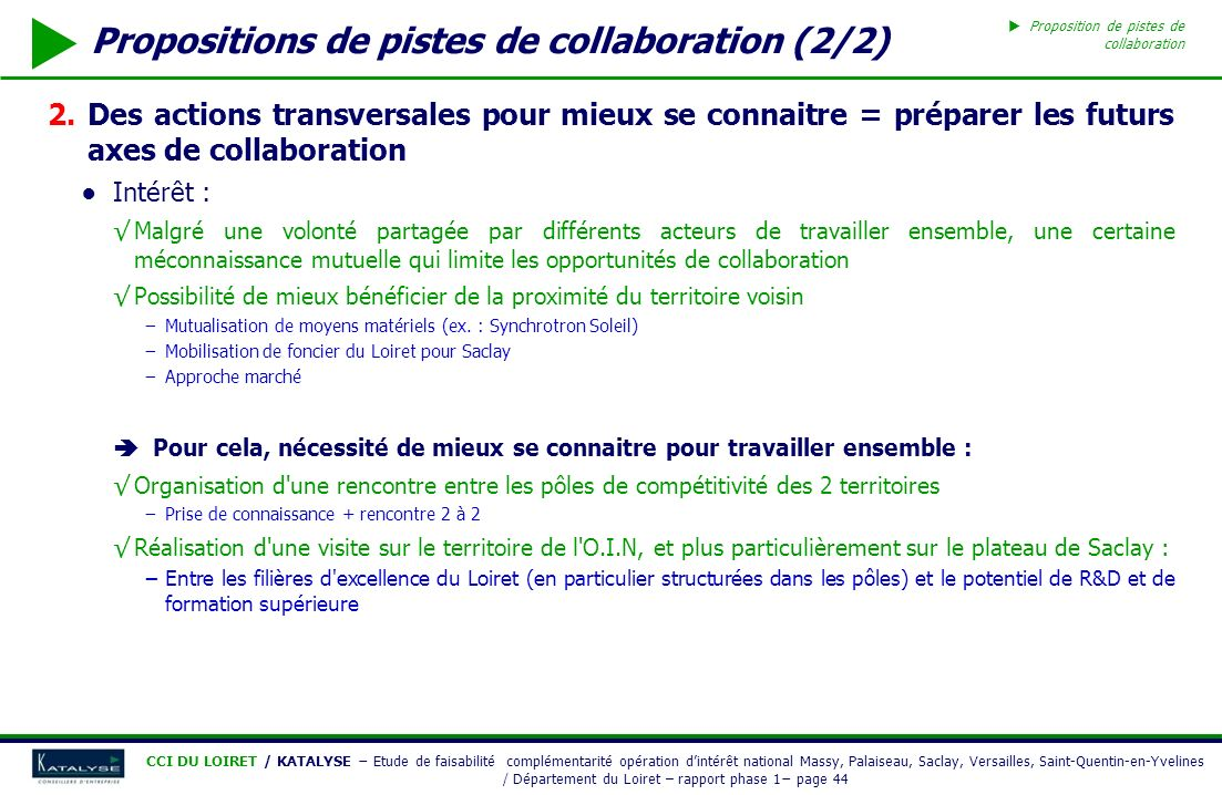Propositions de pistes de collaboration (2/2)