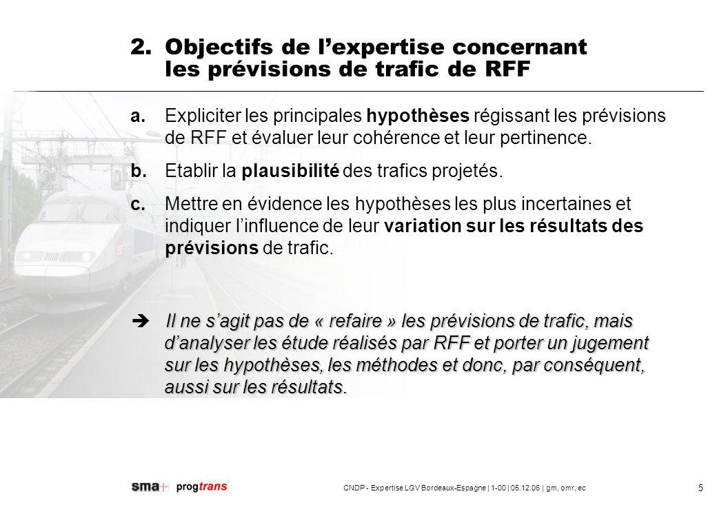 2. Objectifs de l'expertise concernant les prévisions de trafic de RFF