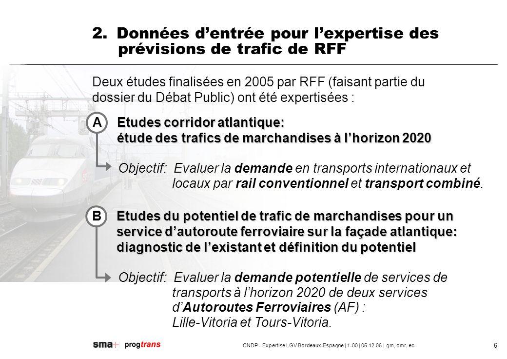 2. Données d'entrée pour l'expertise des prévisions de trafic de RFF