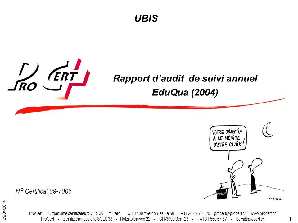 Rapport d'audit de suivi annuel EduQua (2004)