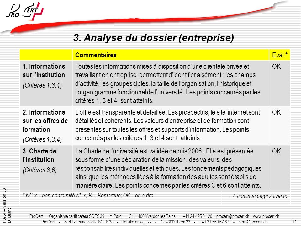 3. Analyse du dossier (entreprise)