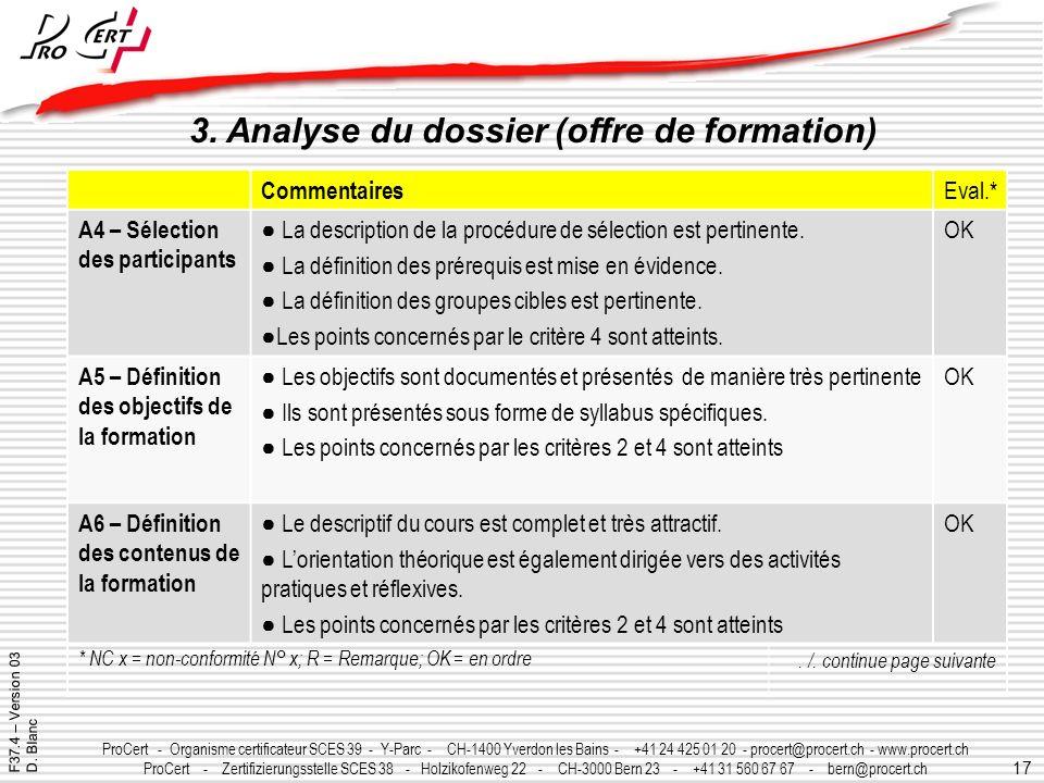3. Analyse du dossier (offre de formation)