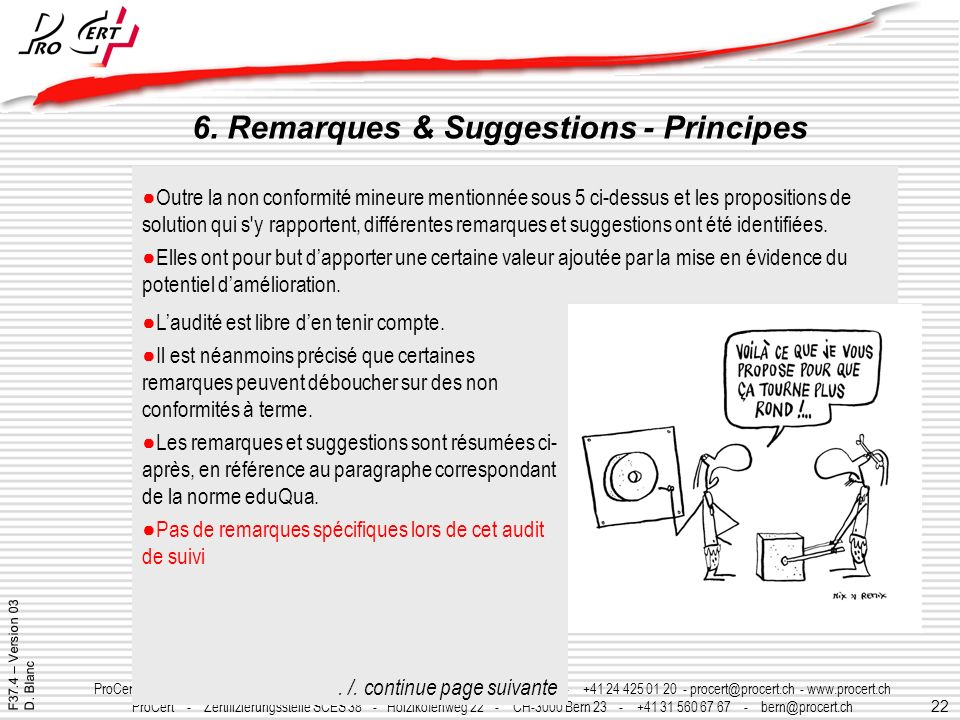 6. Remarques & Suggestions - Principes
