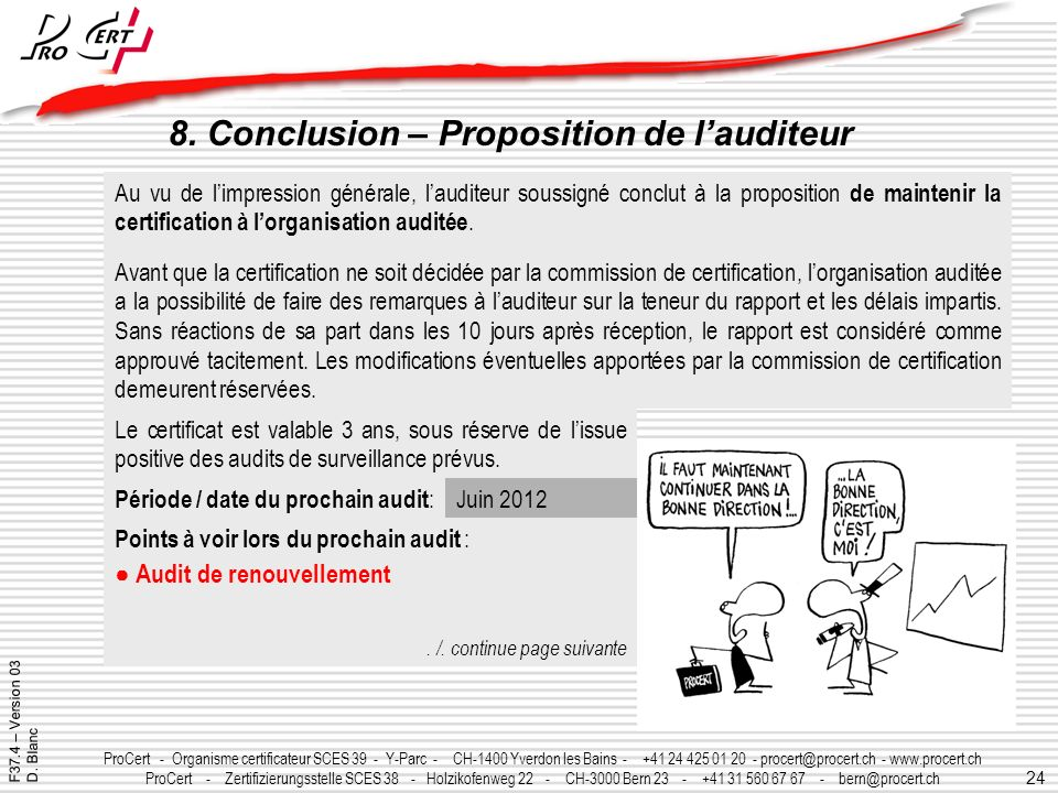 8. Conclusion – Proposition de l'auditeur