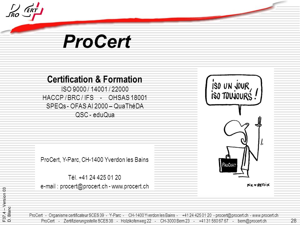 ProCert Certification & Formation ISO 9000 / 14001 / 22000