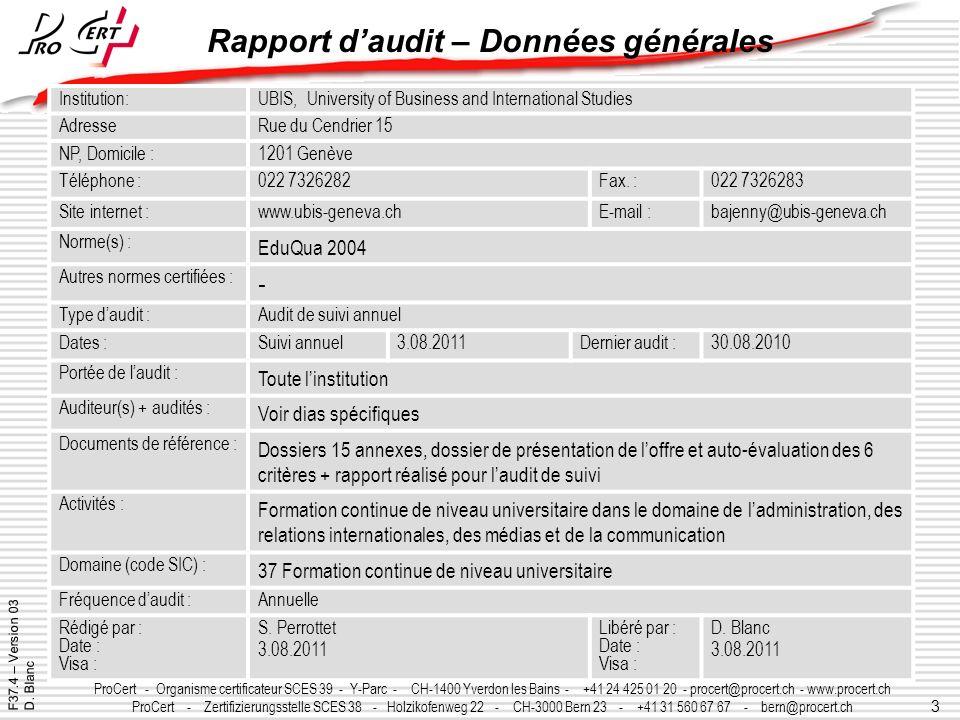 Rapport d'audit – Données générales