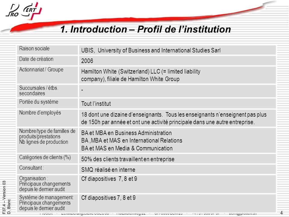 1. Introduction – Profil de l'institution