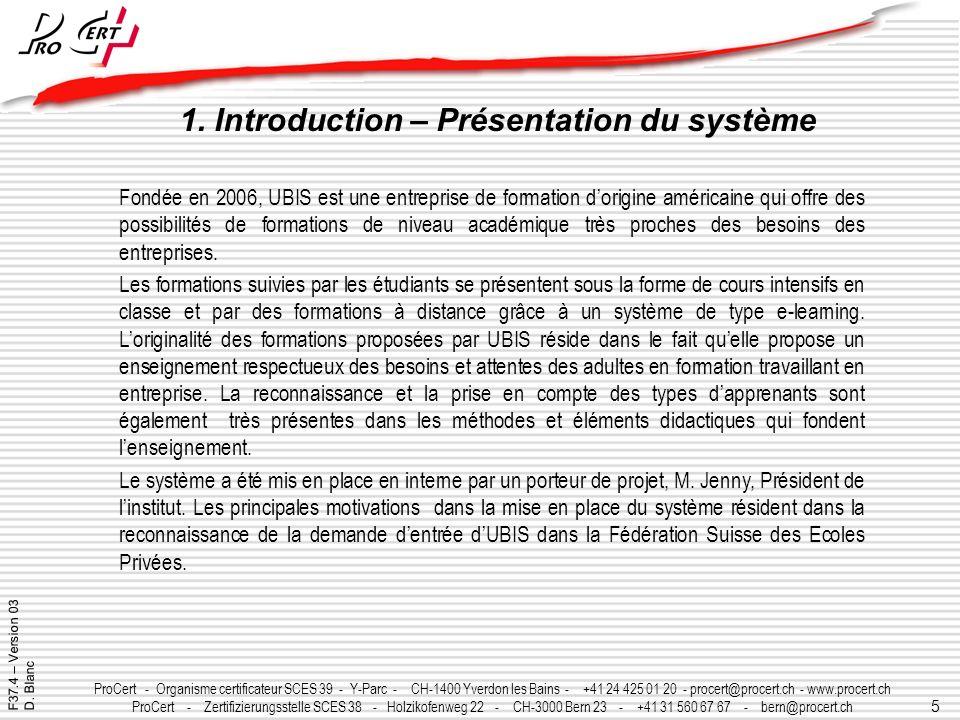 1. Introduction – Présentation du système