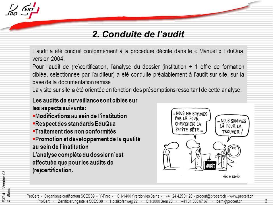 30/03/2017 2. Conduite de l'audit. L'audit a été conduit conformément à la procédure décrite dans le « Manuel » EduQua, version 2004.