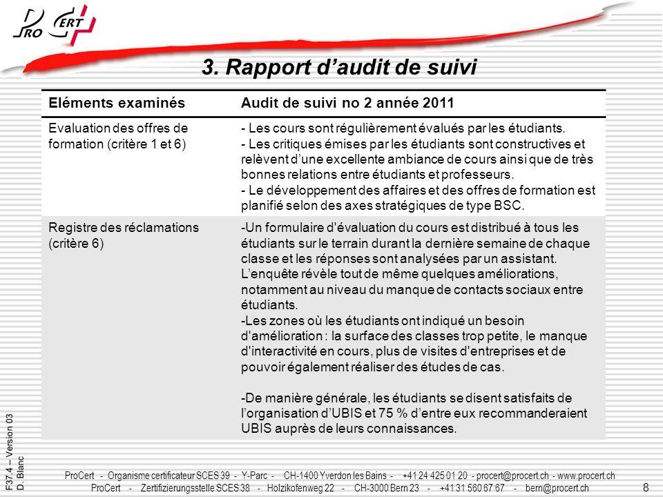 3. Rapport d'audit de suivi