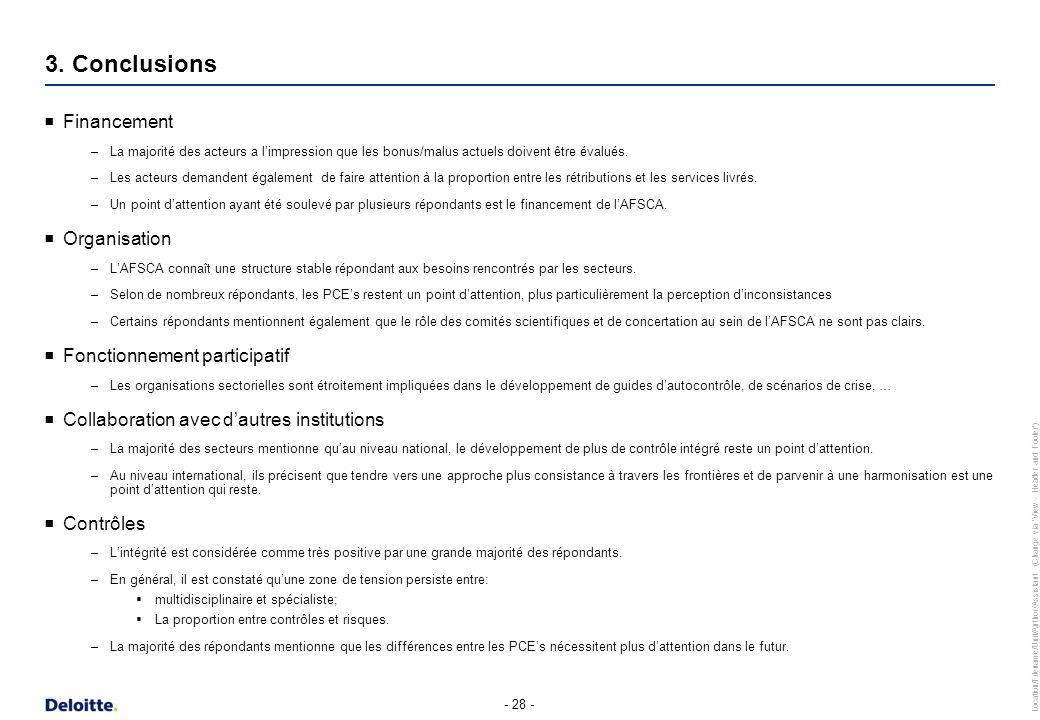 3. Conclusions Communication Gestion de crise Charges administratives