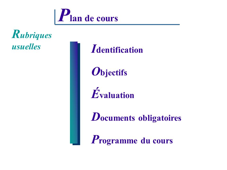 Plan de cours Rubriques usuelles Identification Objectifs Évaluation