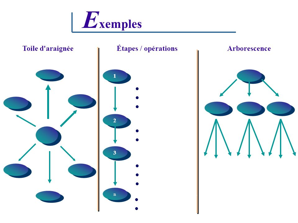 Exemples Toile d araignée Étapes / opérations Arborescence 1 2 3   