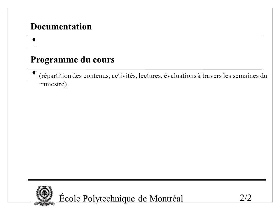 École Polytechnique de Montréal 2/2